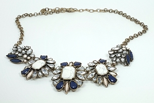 Loft Blue and White Statement Necklace With Rhinestones