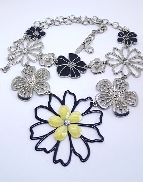 NY Floral Statement Necklace in Black, Yellow, and Silver Tone