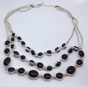 Triple Strand High Polish Black and Silver-tone Necklace