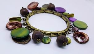 Fun Multicolor Antiqued Gold Tone Bracelet