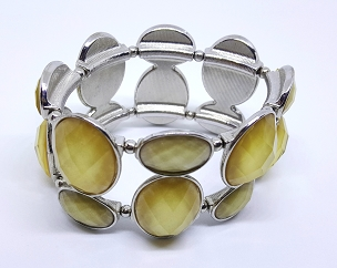 Vintage Stretch Cuff Bracelet, Silver-tone with Golden Beige Faceted Stones