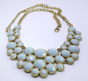 Pale Blue Faceted Acrylic Gold-tone Statement Necklace