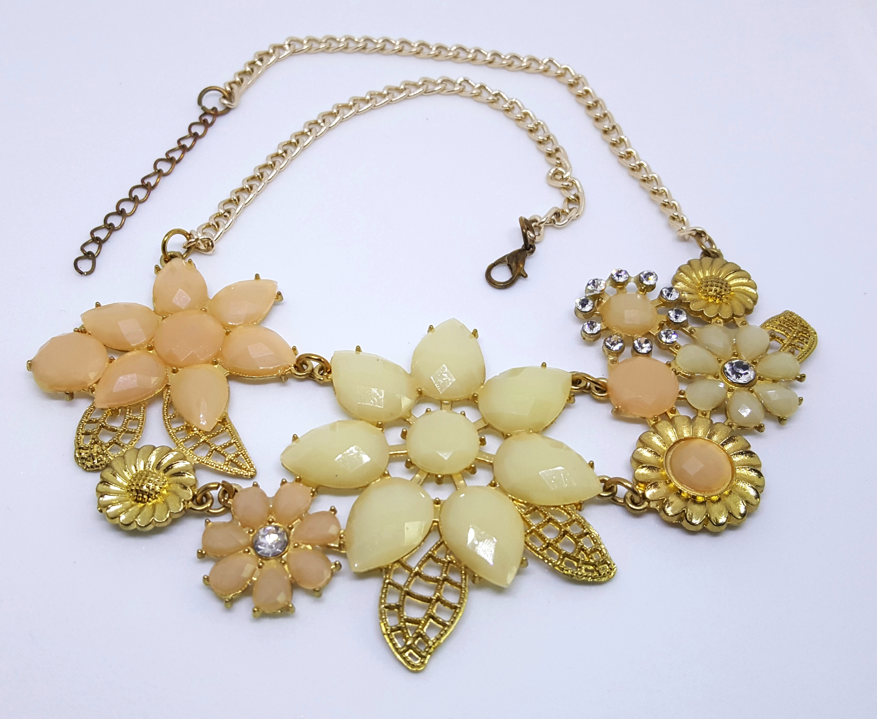 Faceted Acrylic Floral Statement Necklace