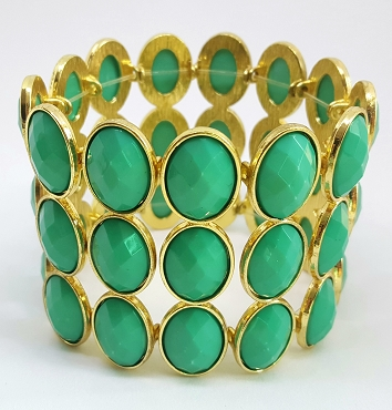 Green Faceted Acrylic Gold-tone Bracelet