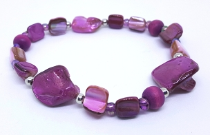 Mixed Media Stretch Bracelet, Purple, 7.5