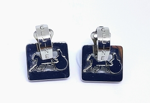 Céline Door Knocker Earrings with Carriage Logo