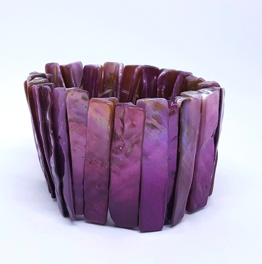 Purple Abalone Stretch Cuff Bracelet