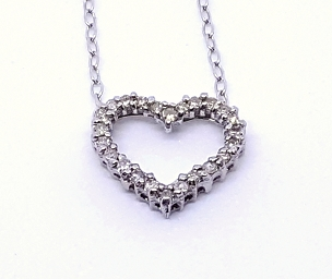 10k White Gold and Diamond Heart Necklace