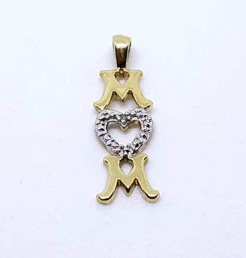10k Gold Mom Pendant With Diamond Accent