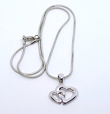 Silver Tone Entwined Heart Necklace