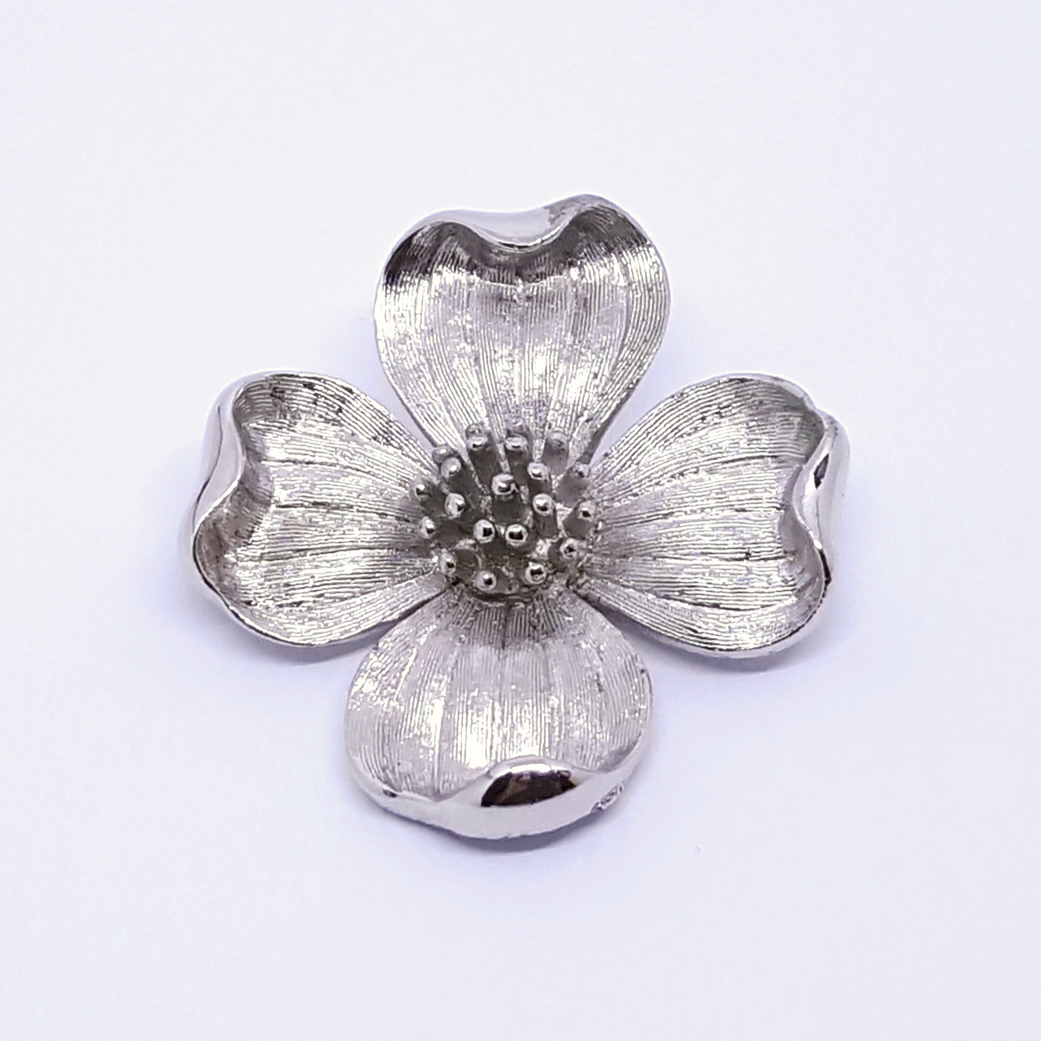 Crown Trifari Silver Tone Dogwood Brooch
