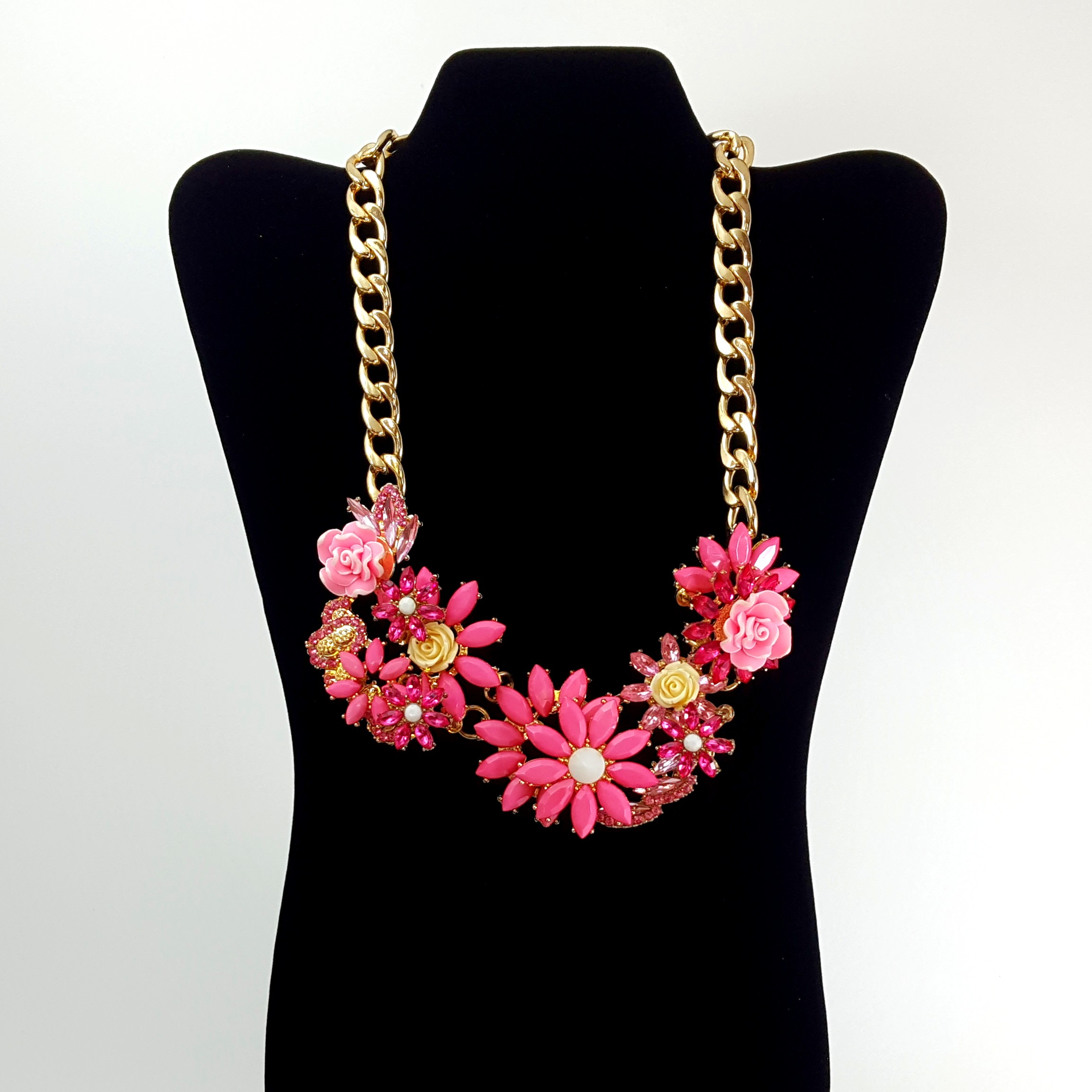 Charming Charlie Chunky Pink Floral Statement Necklace