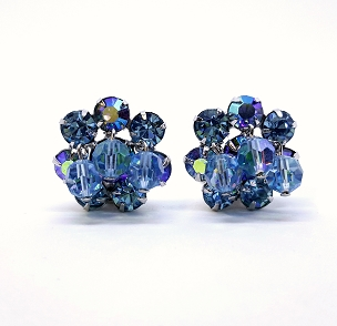 Weiss Blue Aurora Borealis Crystal Clip Earrings