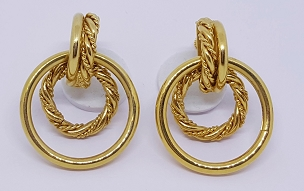 Napier Gold Tone Door Knocker Hoop Earrings