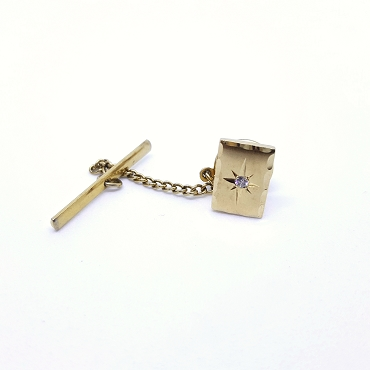 Vintage Tie Tack with Cut Crystal Stone