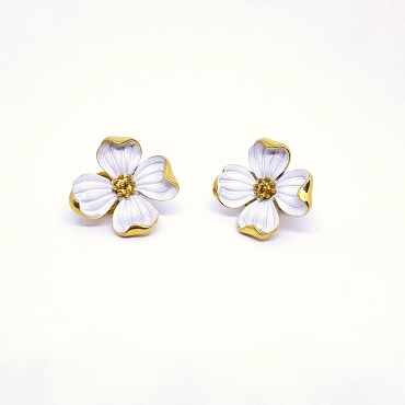 Crown Trifari Dogwood Clip Earrings