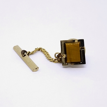 Tie Tack with Golden Brown Stone