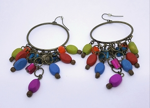Multicolor Dangle Hoop Earrings