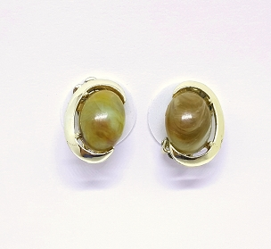 Coro Swirled Thermoset Cabochon Gold Tone Earrings