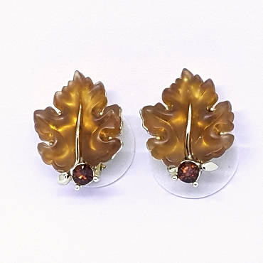 Luminous Vintage Lisner Oak Leaf Earrings