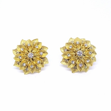 Vintage Carnegie Sculpted Gold Tone Earrings with Clear Rhinestones