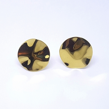 Monet Gold Tone Friction Clip Hammered Disk Earrings