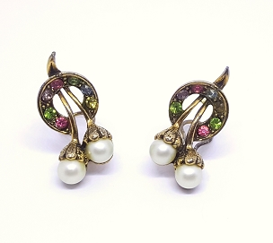 Art Deco Faux Pearl Earrings With Rhinestone Accents