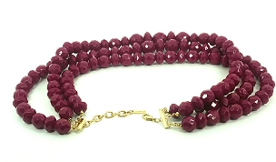 Cranberry Faceted Acrylic Multistrand Necklace