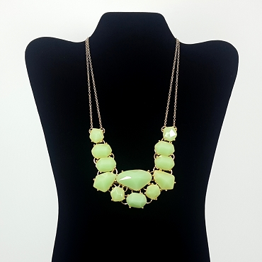 Pale Green Faceted Statement Necklace