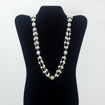 Long Faux Pearl and Sparkle Ball Necklace - White House Black Market