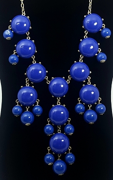 Royal Blue Cabochon Bib Statement Necklace by Simple Addiction