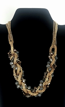 Gray Faceted Bead and Gold Tone Chain Braided Multistrand Necklace