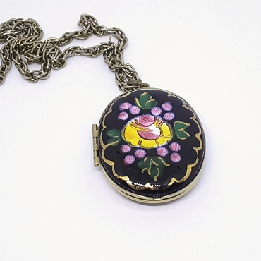 Hand Painted Guilloche Enamel Locket