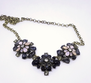 Black and Pink Rhinestone Statement Necklace