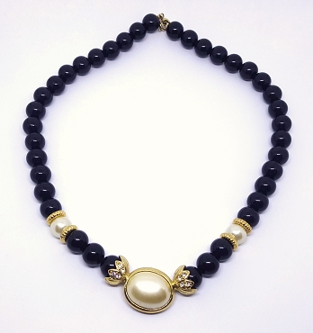 Black Bead and Faux Pearl Necklace With Gold Tone Accents