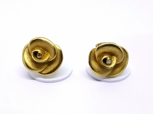 Crown Trifari Vintage Sculpted Rose Earrings