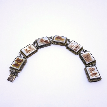 Antique Mother of Pearl Cameo Days of the Week Bracelet, 800 silver, engraved