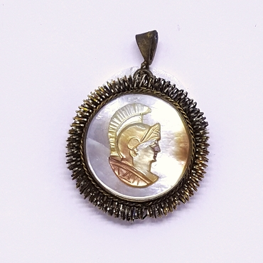 Antique Hand Carved Mother of Pearl Cameo Pendant, Roman God Mars, 800 Silver