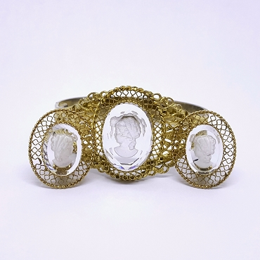 Whiting and Davis Glass Intaglio Filigree Bracelet and Earrings