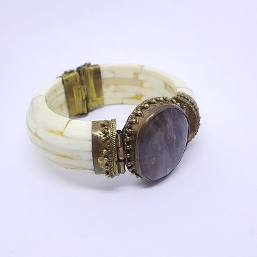 Ox Bone and Gray Agate Hinged Bangle Bracelet