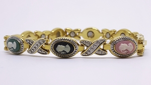 Gold and Silver Tone Resin Cameo Link Bracelet