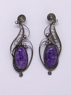 Purple Charoite Wirework Earrings