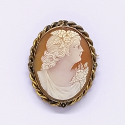 Carved Shell Portrait Cameo Brooch Pendant