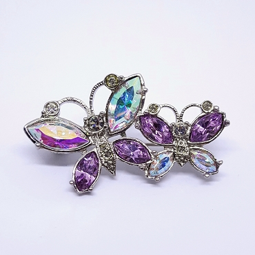 Avon Silver Tone AB Crystal Brooch - Two Butterflies