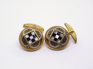 Ornate Gold Tone Mother of Pearl Checkerboard Design Cufflinks
