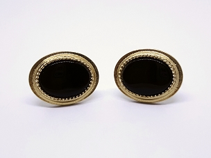 Oval Avon Cufflinks, Gold Tone and Black