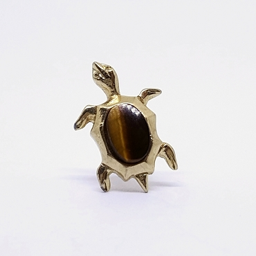 Swank Tiger's Eye Turtle Tie Tack