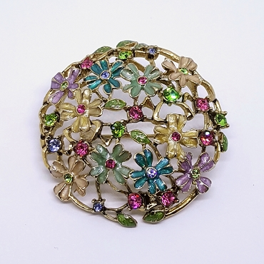 Monet Round Floral Rhinestone and Enamel Brooch in Spring Tones