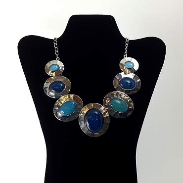 Vintage Modernist Cabochon Statement Necklace