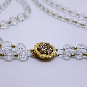 Napier Cut Crystal Double Strand Necklace